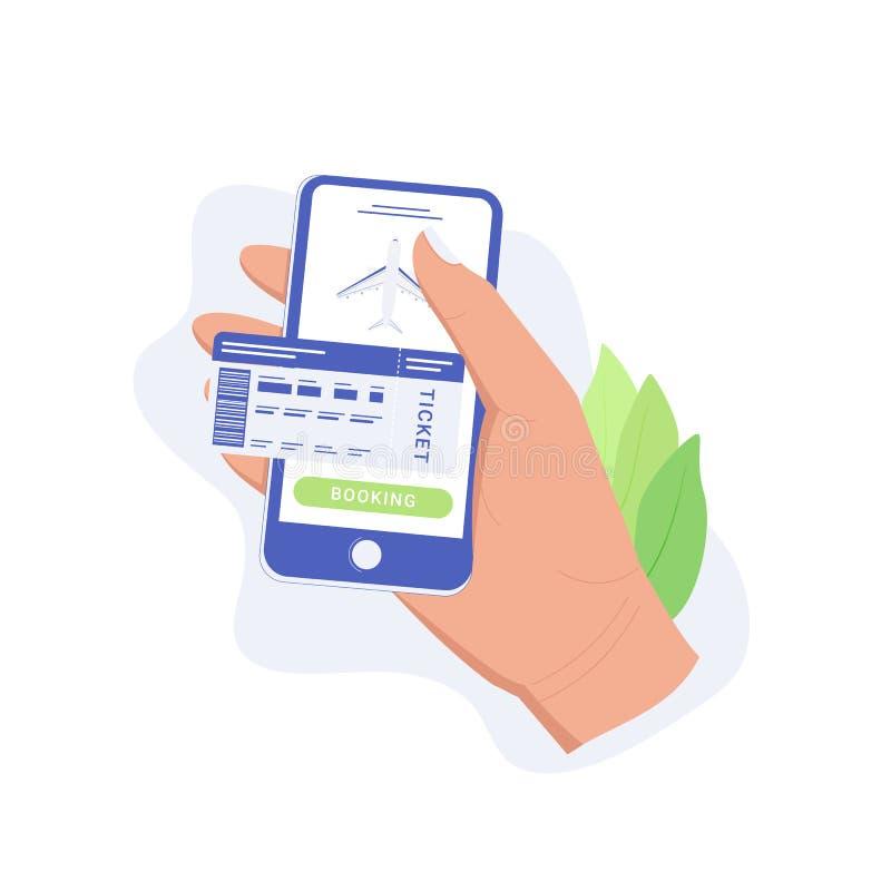 App van het vliegtuigkaartje concept stock illustratie