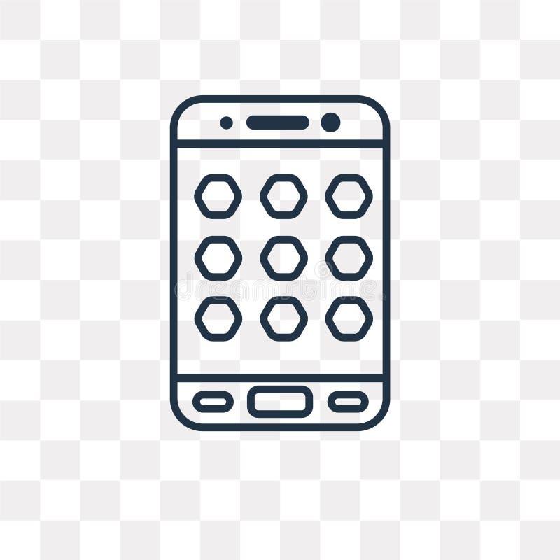 App vectordiepictogram op transparante achtergrond, lineaire App t wordt geïsoleerd stock illustratie