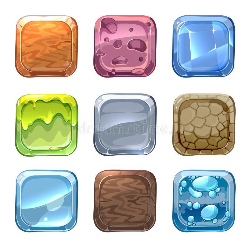 App-vektorsymboler med olika texturer stock illustrationer