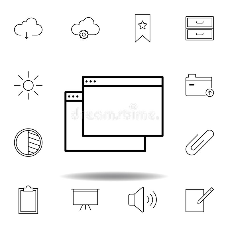 App window outline icon. Detailed set of unigrid multimedia illustrations icons. Can be used for web, logo, mobile app, UI, UX. On white background royalty free illustration
