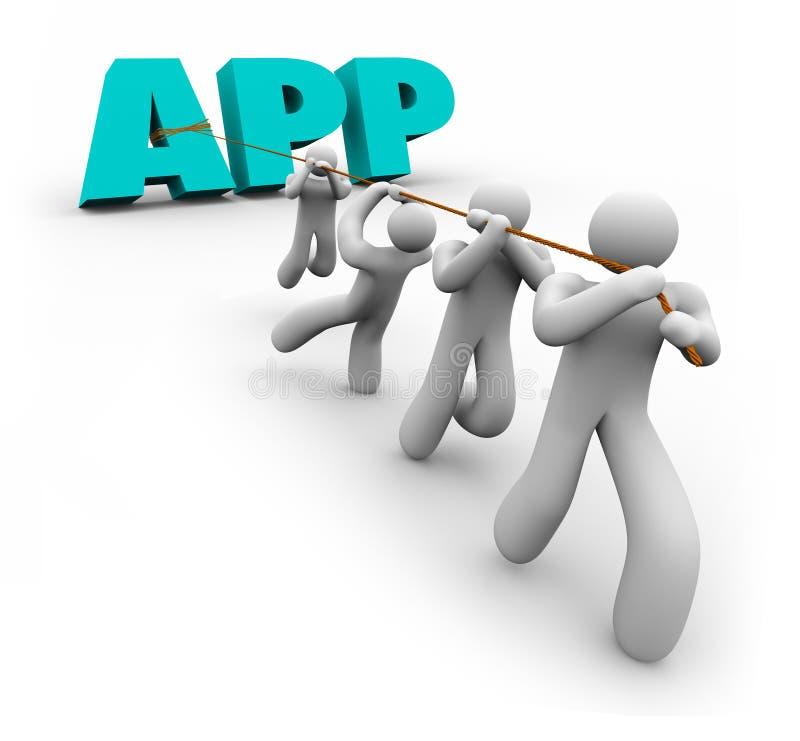 App Word που λειτουργεί μαζί την ομάδα υπεύθυνων για την ανάπτυξη προγραμματιστών εφαρμογής ελεύθερη απεικόνιση δικαιώματος