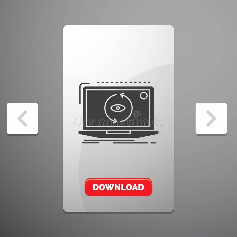 App, zastosowanie, nowy, oprogramowanie, aktualizacja glifu ikona w biby paginacji suwaka projekcie & Czerwony ściąganie guzik, royalty ilustracja