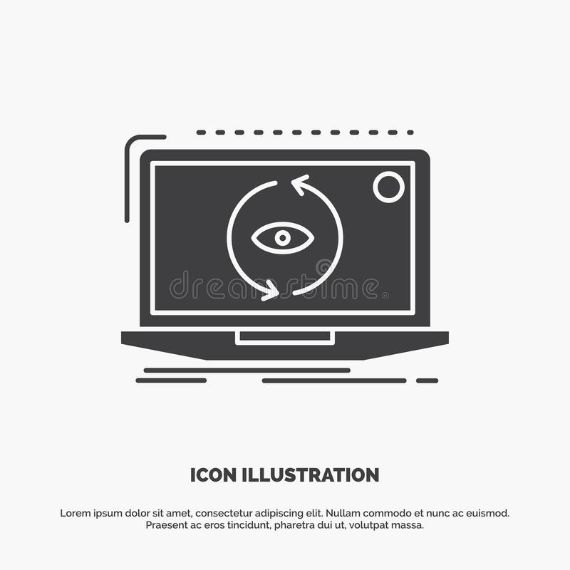 App, zastosowanie, nowy, oprogramowanie, aktualizacji ikona glifu wektorowy szary symbol dla UI, UX, strona internetowa i wisz?ce ilustracja wektor
