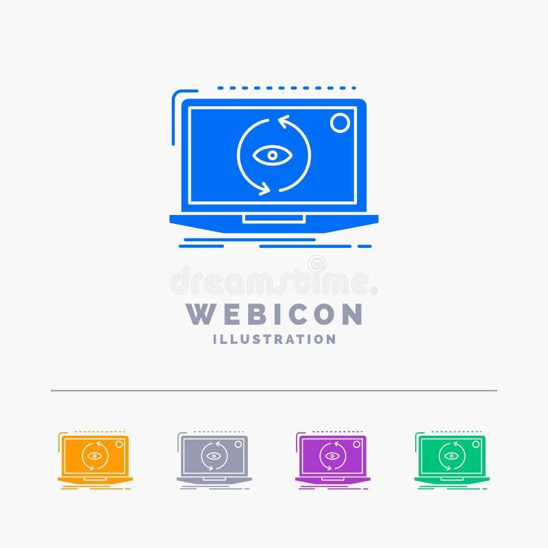App, zastosowanie, nowy, oprogramowanie, aktualizacji 5 koloru glifu sieci ikony szablon odizolowywający na bielu r?wnie? zwr?ci? ilustracja wektor