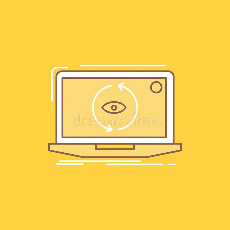 App, zastosowanie, nowy, oprogramowanie, aktualizacji mieszkania linia Wypełniał ikonę Pi?kny logo guzik nad ? royalty ilustracja