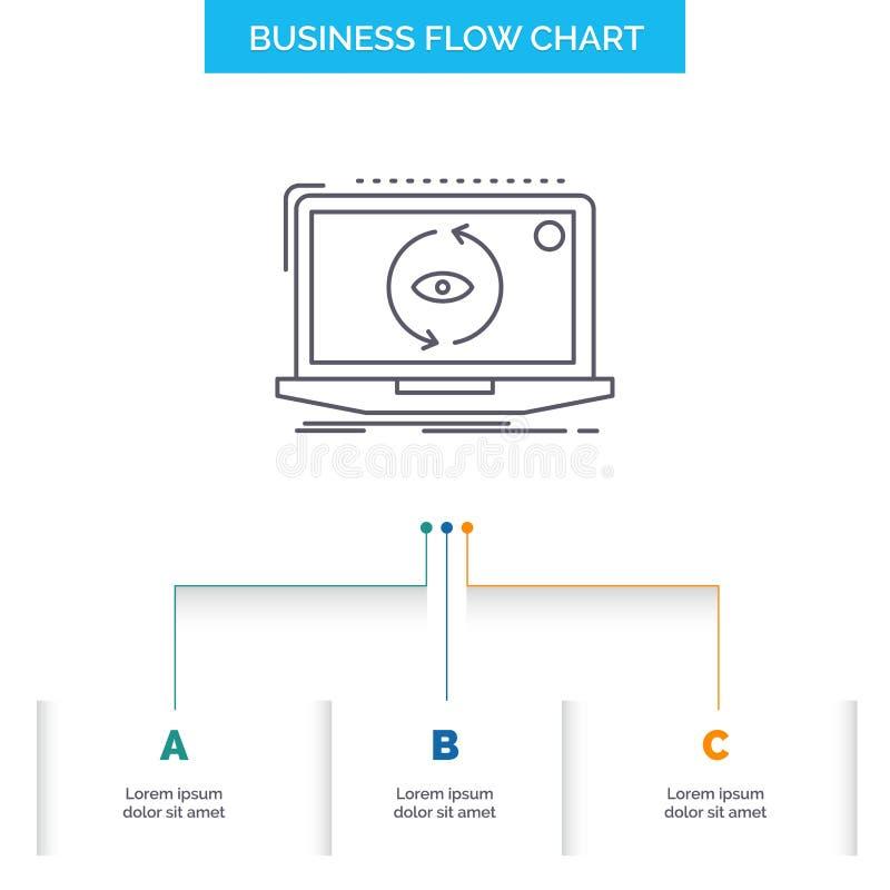 App, zastosowanie, nowy, oprogramowanie, aktualizacji Sp?ywowej mapy Biznesowy projekt z 3 krokami Kreskowa ikona Dla prezentacji ilustracji