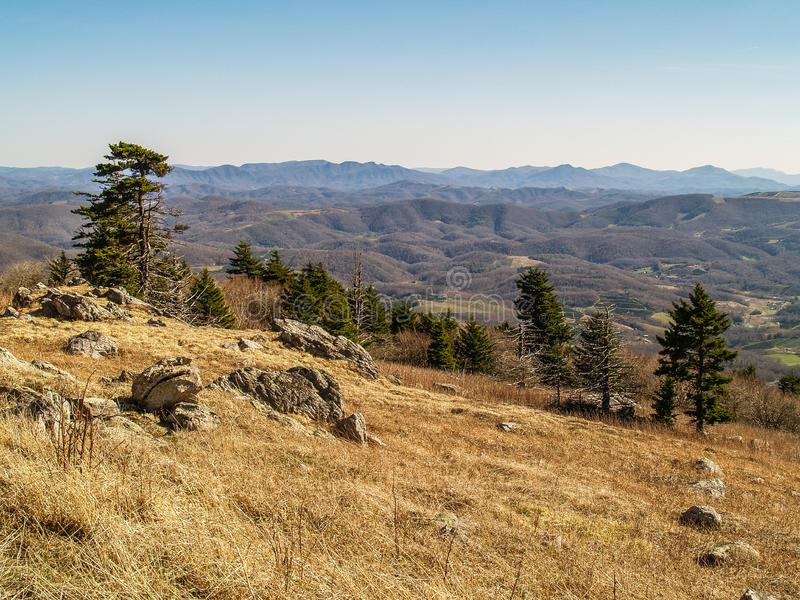 Appalachian Mountains in Southern Virginia. Evening view from the southern Appalachians from the top of Whitetop Mountain in southern Virginia stock photography