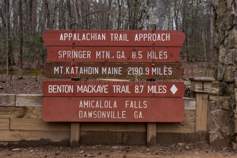 Appalachian Trail Approach Sign for 2018 stock photography