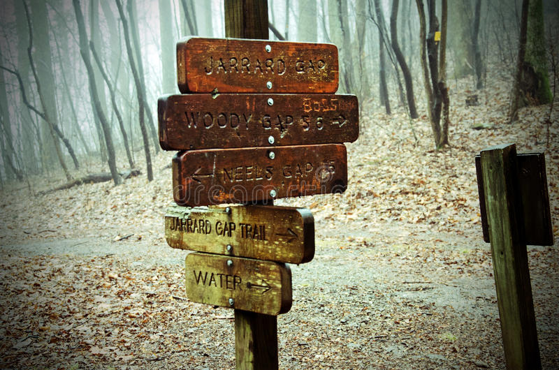 Appalachian Trail directional sign in Georgia. Directional trail sign on Appalachian Trail in Georgia for Jarrad Gap, Woody Gap, Neels Gap trail stock photos