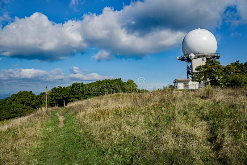 Appalachian Trail and FAA Air Traffic Control Radar. Bedford County, VA – September 26th: View the Appalachian Trail and the FAA Traffic Control Radar at stock photo
