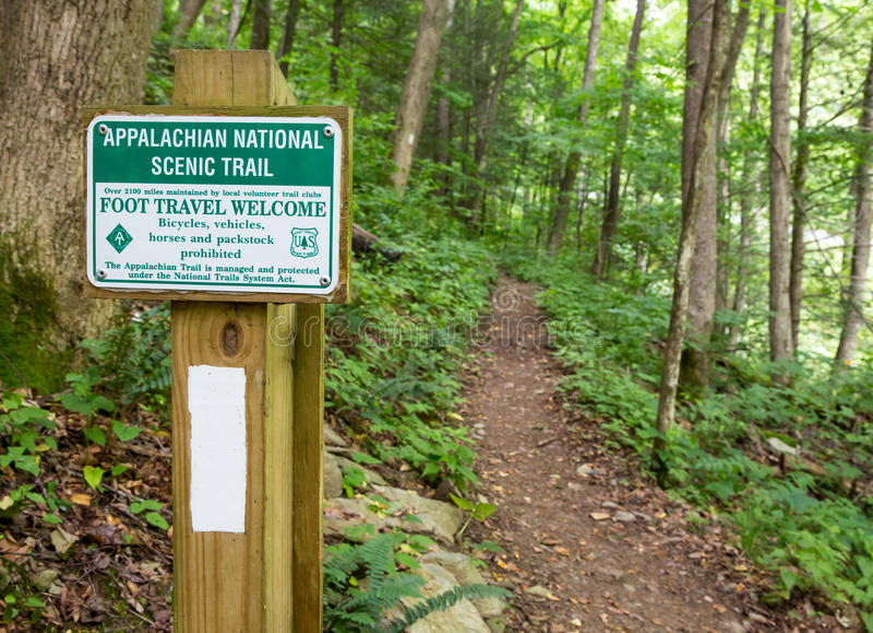 Appalachian Trail Marker. Signage and White blaze marks the Appalachian trail in North Carolina royalty free stock photography