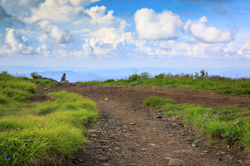 Appalachian Trail Roan Mountain TN and NC. Landscape of Round Bald along the Appalachian Trail through Roan Mountain Highlands on the border of North Carolina royalty free stock images