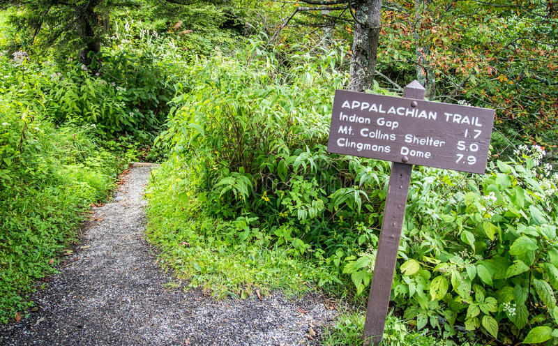 Appalachian Trail Summit. Appalachian Trail sign marking the distance to Clingmans Dome. At over 6,000 ft. Clingmans Dome is the highest point on the AT. Great royalty free stock photo