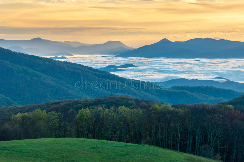 Appalachian Trail TN NC Sunrise Max Patch. Sunrise above the clouds at Max Patch Bald on the Appalachian Trail royalty free stock photo