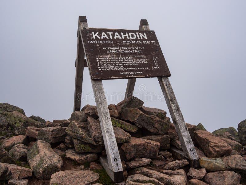 Appalachischer Wegweiser, Katahdin-Gipfel, Baxter State Park stockfoto