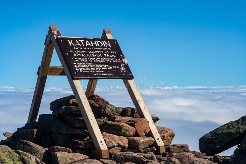 Appalachischer Wegweiser, Katahdin-Gipfel, Baxter State Park, Maine lizenzfreie stockfotografie