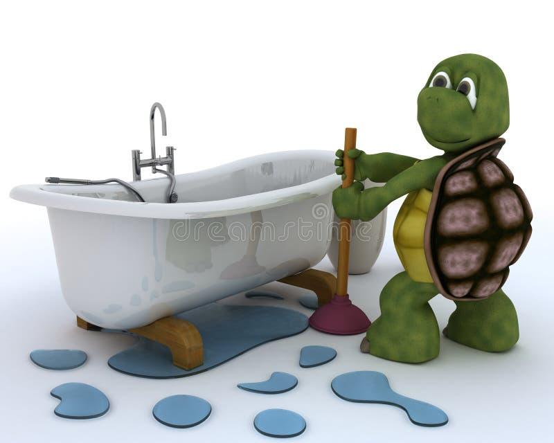 Appaltatore dell'impianto idraulico della tartaruga illustrazione vettoriale