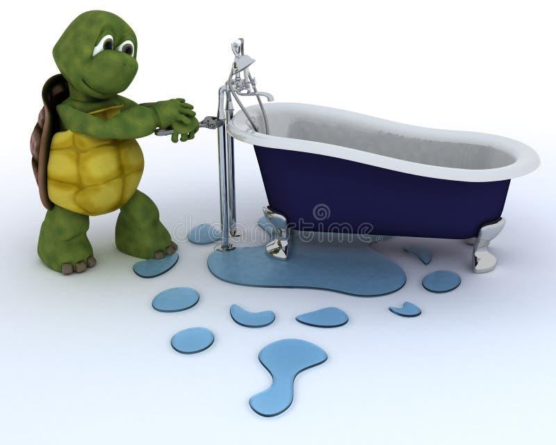 Appaltatore dell'impianto idraulico della tartaruga illustrazione di stock