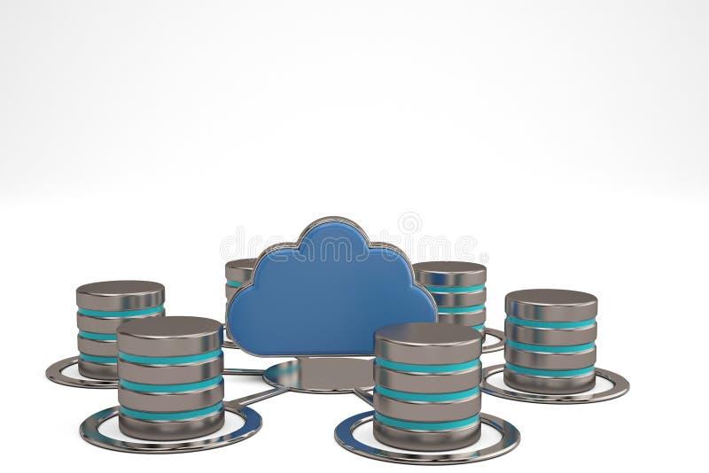 Appanni il clou lucido blu di concetto a distanza di archiviazione di dati e di computazione fotografia stock
