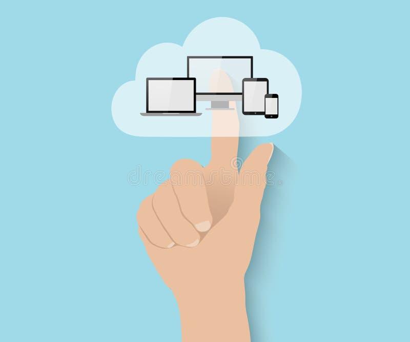 Appanni il concetto di calcolo, nuvola piana di spinte della mano grande illustrazione di stock