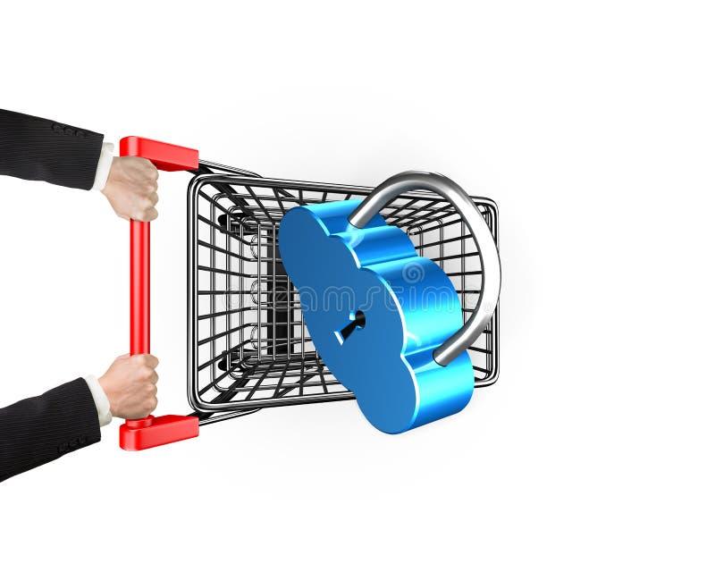 Appanni il concetto di collegamento di sicurezza, fissi il carrello con l'ha illustrazione di stock