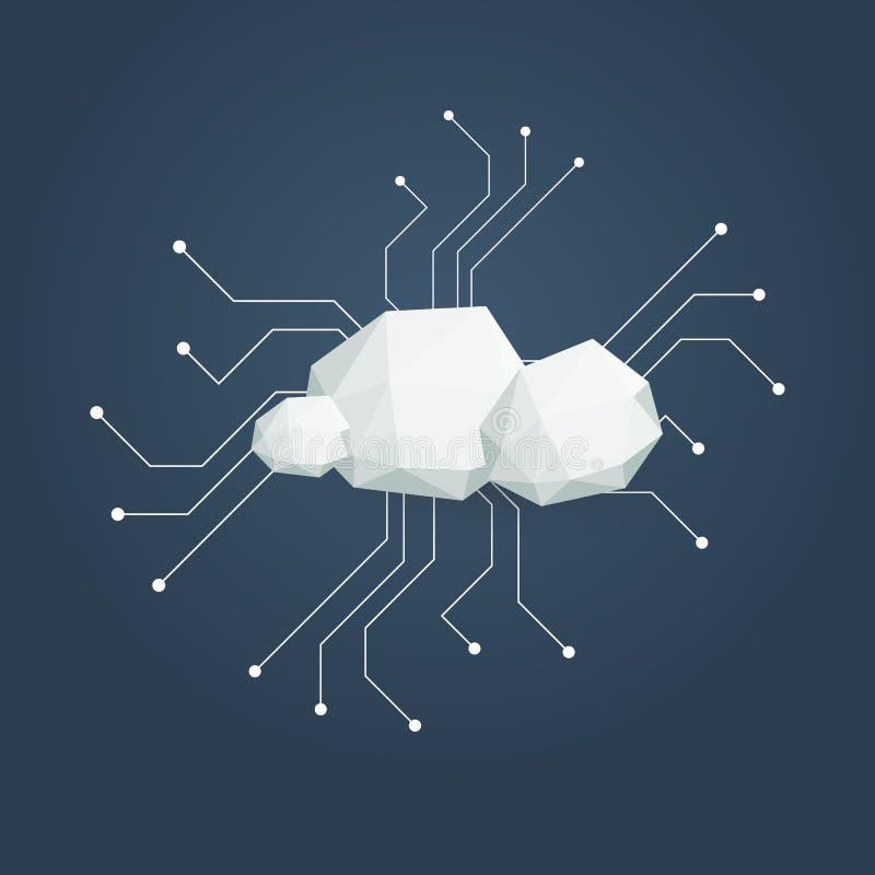 Appanni l'illustrazione di calcolo di concetto con le poli nuvole basse Infrastruttura di archiviazione di dati illustrazione di stock