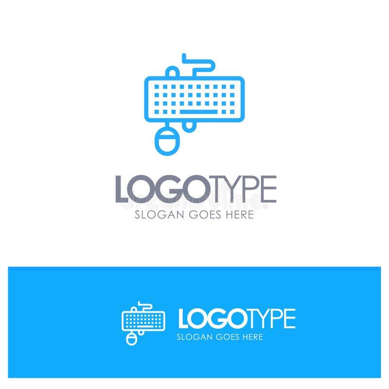 Apparaat, Interface, Toetsenbord, Muis, Verouderd Blauw overzichtsembleem met plaats voor tagline royalty-vrije illustratie
