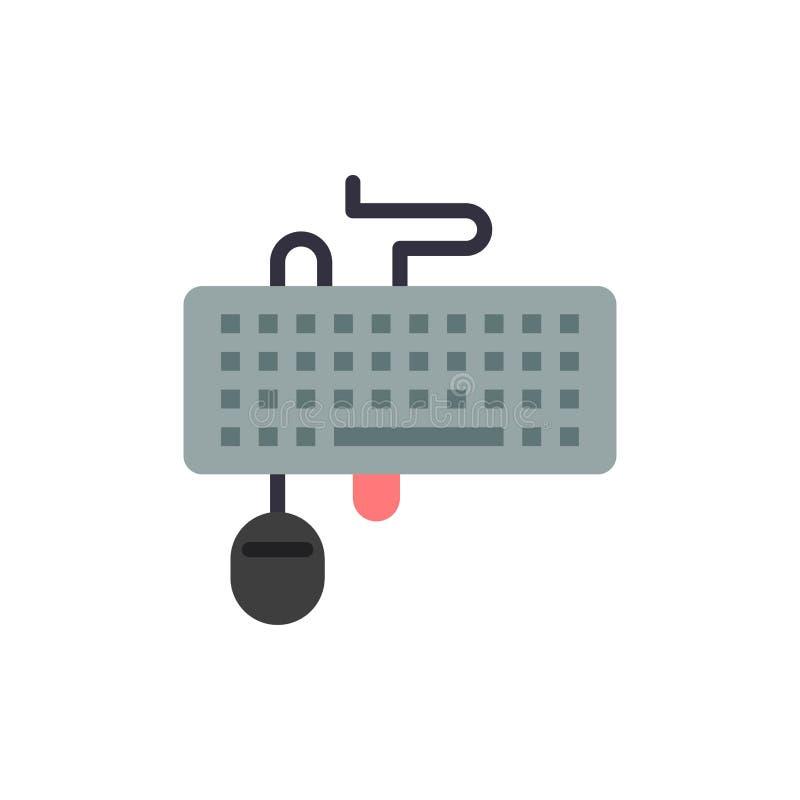 Apparaat, Interface, Toetsenbord, Muis, Verouderd Vlak Kleurenpictogram Het vectormalplaatje van de pictogrambanner stock illustratie