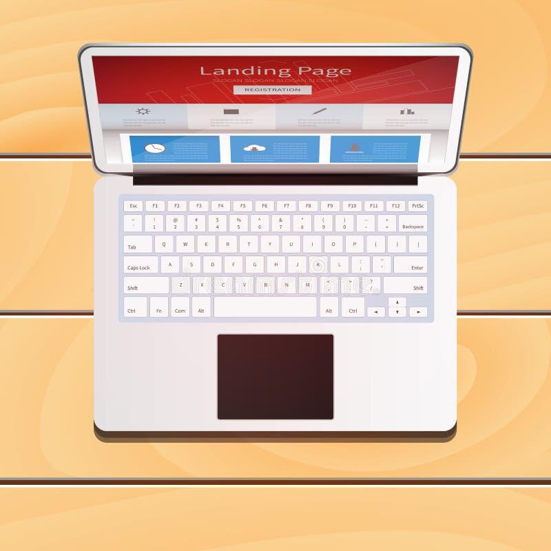 Apparat för Digital bärbar datordator med landningsidaskärmen på woode royaltyfria foton