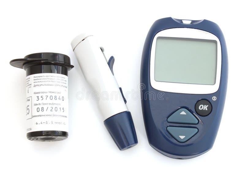 Apparat för kontrollen av nivån för blodglukos royaltyfria bilder