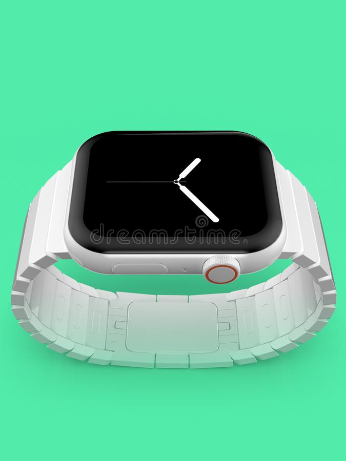 Apparat för rykte för Apple klocka 4 vit keramisk uppdiktad, modell royaltyfri foto