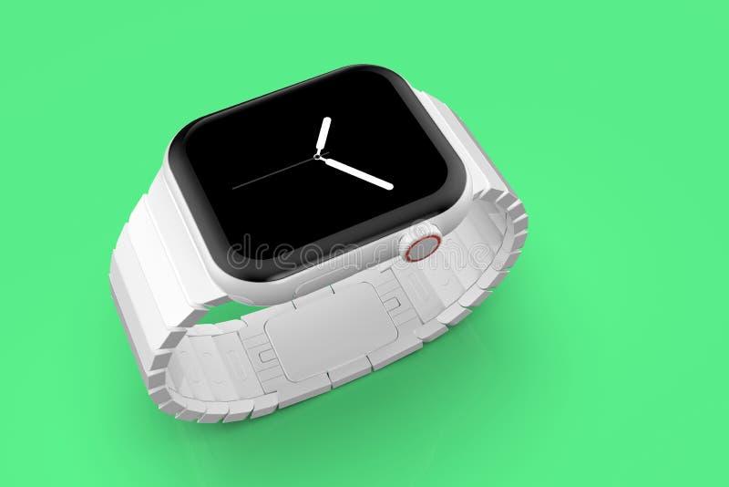 Apparat för rykte för Apple klocka 4 vit keramisk uppdiktad, modell arkivbilder
