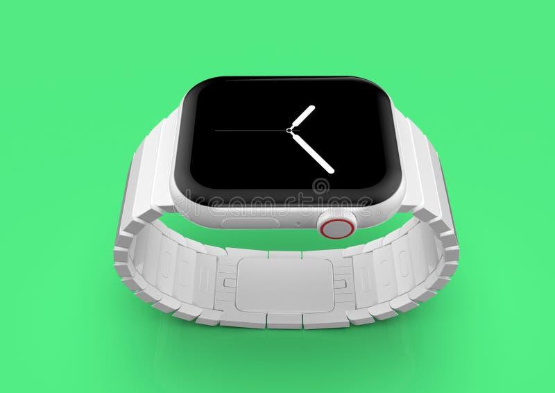 Apparat för rykte för Apple klocka 4 vit keramisk uppdiktad, modell royaltyfri bild