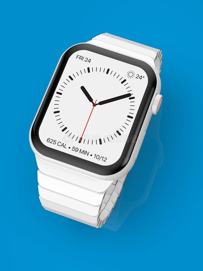 Apparat för rykte för Apple klocka 4 vit keramisk uppdiktad, modell arkivbild