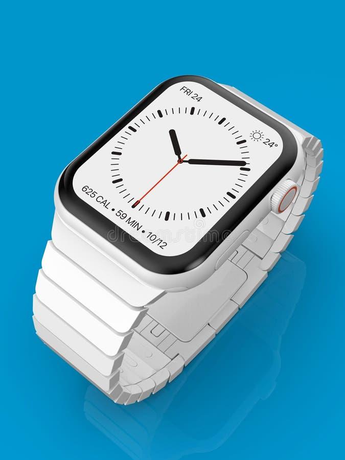 Apparat för rykte för Apple klocka 4 vit keramisk uppdiktad, modell arkivfoton