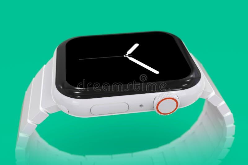 Apparat för rykte för Apple klocka 4 vit keramisk uppdiktad arkivbilder