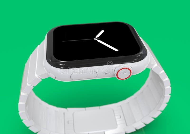 Apparat för rykte för Apple klocka 4 vit keramisk uppdiktad arkivbild
