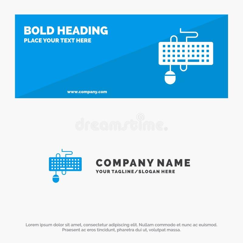 Apparat, manöverenhet, tangentbord, mus, föråldrat fast symbolsWebsitebaner och affär Logo Template stock illustrationer