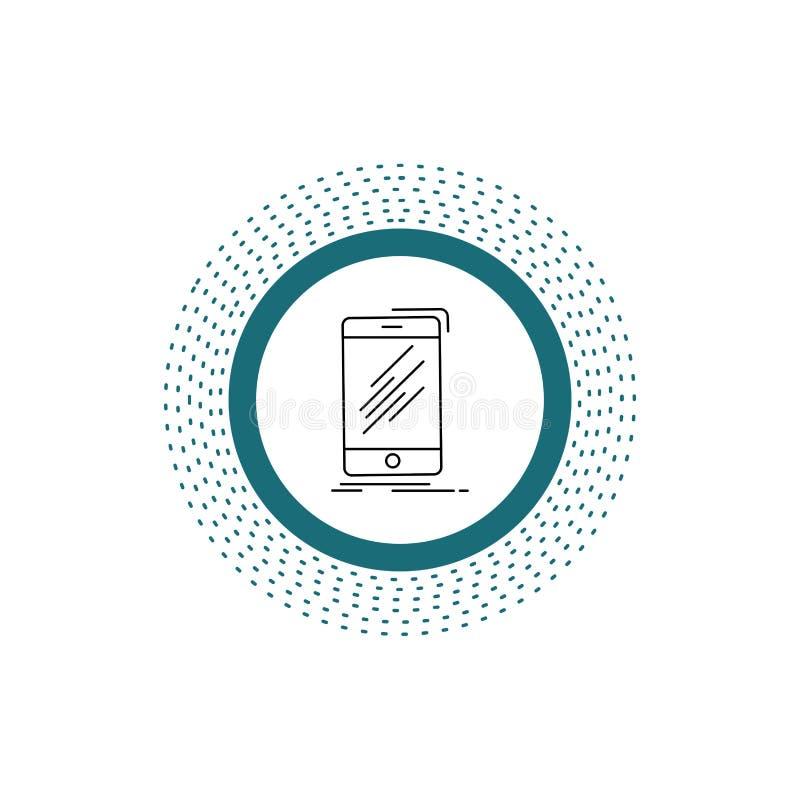 Apparat mobil, telefon, smartphone, telefonlinje symbol Vektor isolerad illustration stock illustrationer