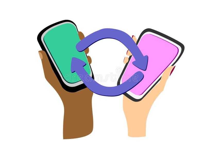 Apparat-till-apparat kommunikationsbegrepp Kvinnlig och manliga händer av olika färger med smartphones royaltyfri illustrationer