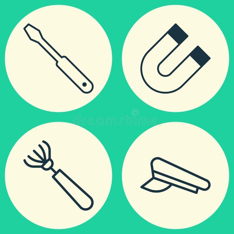 Apparateikonen eingestellt Sammlung Spindel-Kappe, Anziehungskraft, Egge und andere Elemente Schließt auch Symbole wie ein vektor abbildung
