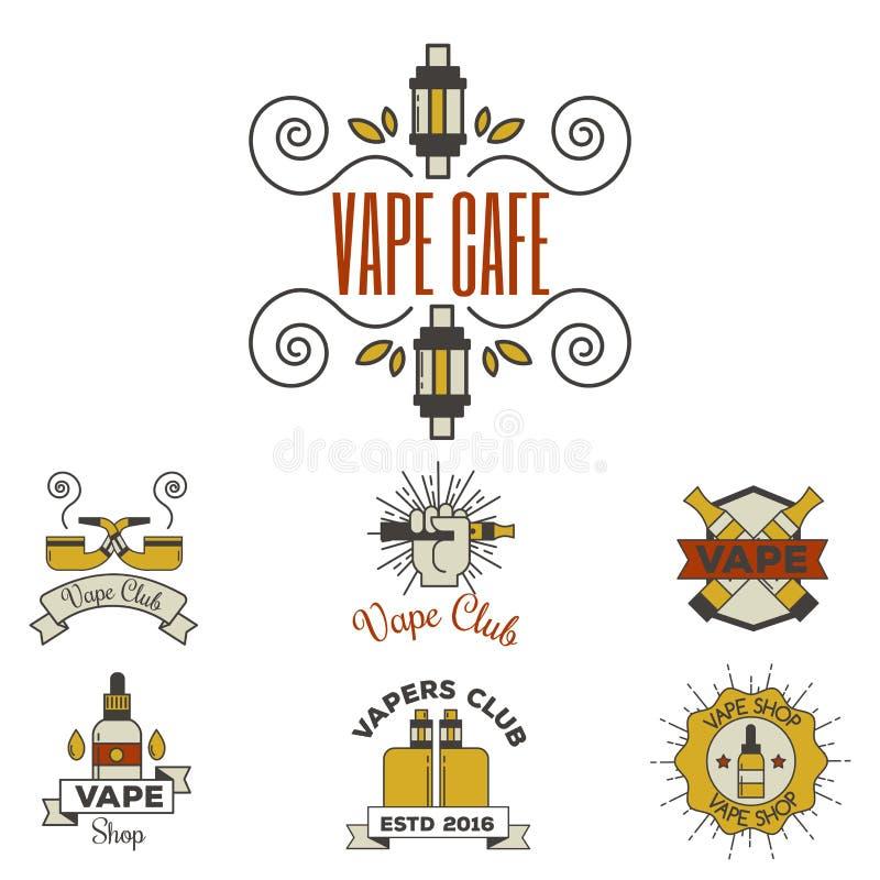 Apparaten för sprejflaskan för illustrationen för cigaretten för nikotin för tappning för den Vaping e-cigaretten emblemsvectoren stock illustrationer