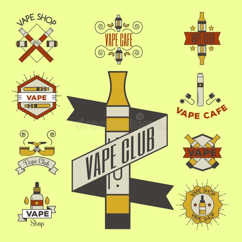 Apparaten för sprejflaskan för illustrationen för cigaretten för nikotin för tappning för den Vaping e-cigaretten emblemsvectoren royaltyfri illustrationer