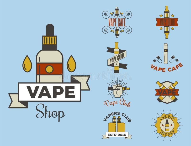 Apparaten för sprejflaskan för illustrationen för cigaretten för nikotin för tappning för den Vaping e-cigaretten emblemsvectoren vektor illustrationer
