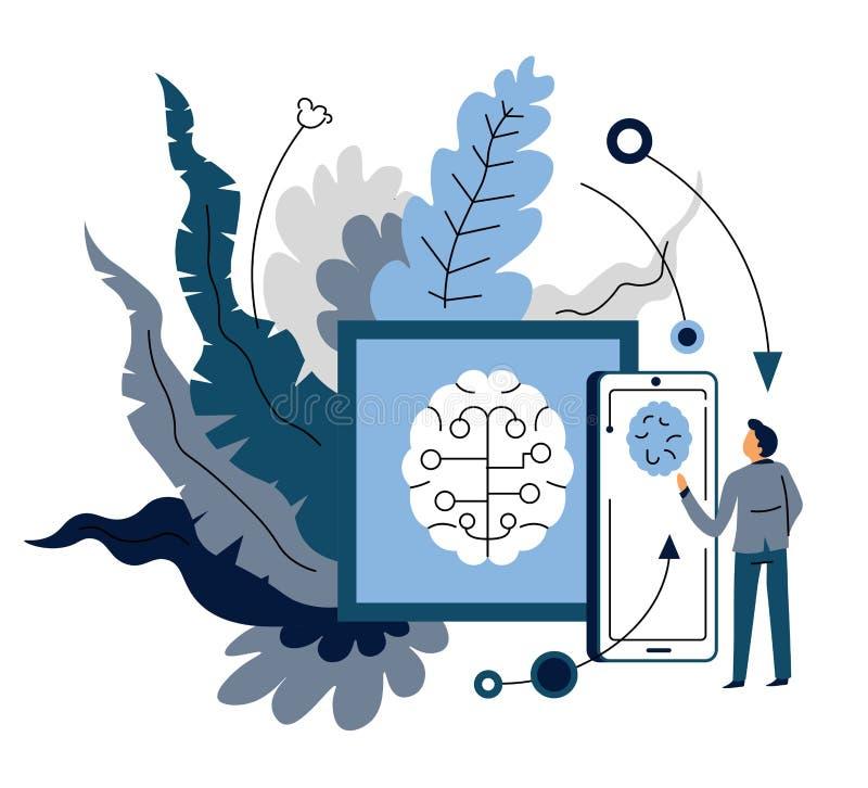 Apparatensynchronisatie door kunstmatige intelligentiemobiele toepassing en gebruiker stock illustratie