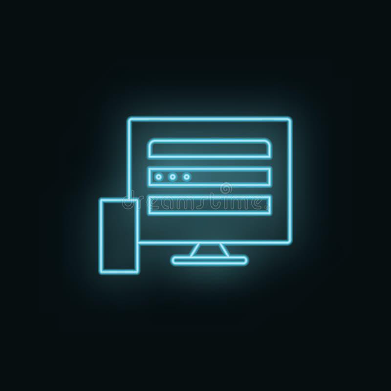 Apparater bildskärm som är mobil, neon, symbol Symbol för rengöringsdukutvecklingsvektor Beståndsdel av det enkla symbolet för we royaltyfri illustrationer