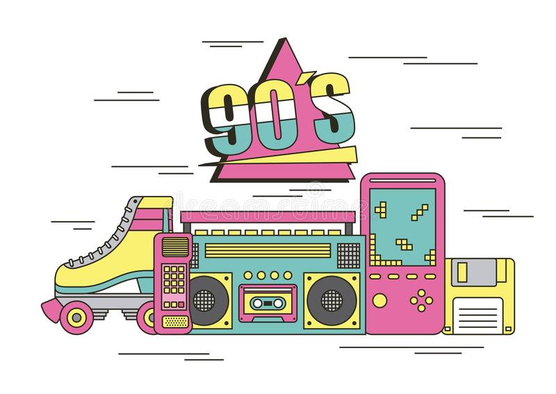 Apparater och leksaker för 90-tal för skridsko för rulle för tamagotchi för videospel för bandspelarekubrubik royaltyfri illustrationer