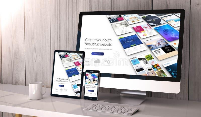 apparater som är svars- på workspacewebsitebyggmästare royaltyfria foton