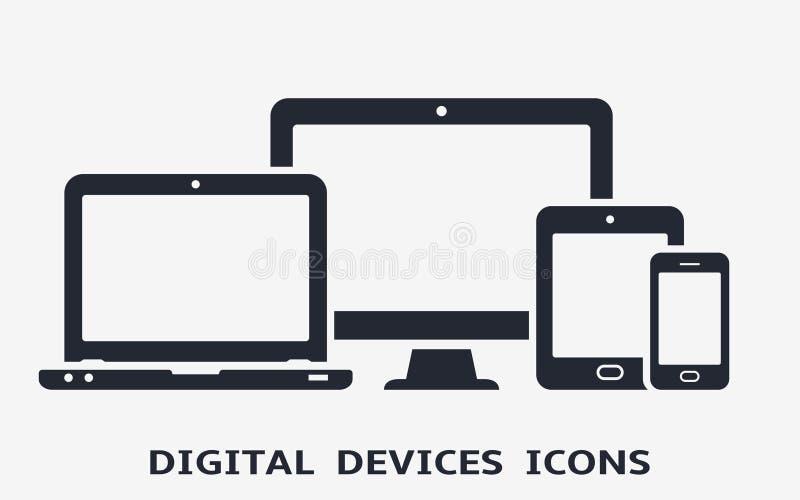 Apparatsymboler: ila telefonen, minnestavlan, bärbara datorn och den skrivbords- datoren Vektorillustration av den svars- rengöri royaltyfri illustrationer