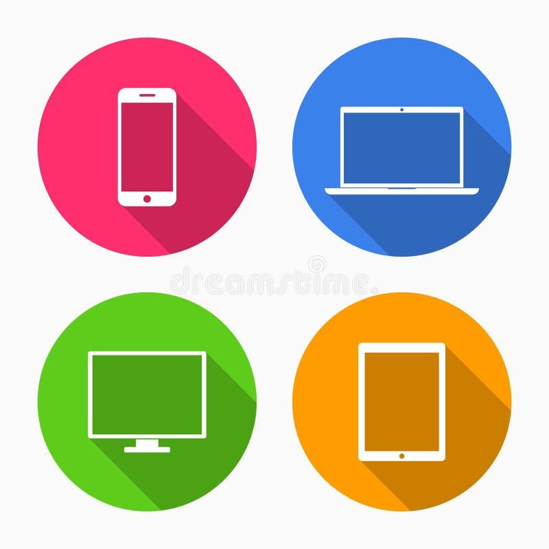 Apparatsymboler: smartphone, minnestavla, bärbar dator och skrivbords- dator royaltyfri illustrationer